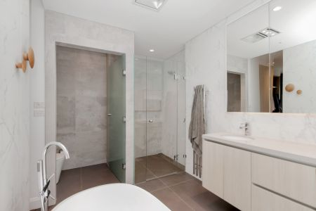 Custom Shower Screen & Frosted Glass Privacy Door - Dover Heights