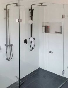 Custom Frameless Front and Return 4 Panel Shower Screens - Couples