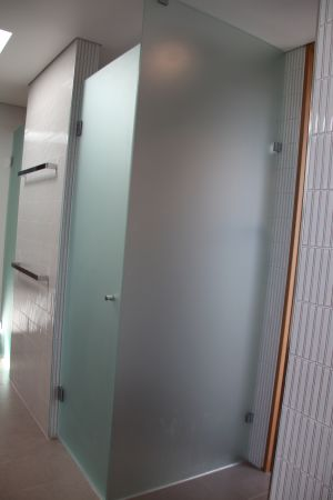Custom Frosted 2 Panel Front and Return Frameless Showerscreen - Coogee