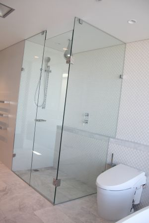 Custom Frameless 3 Panel Return/Corner Shower Screen - Coogee