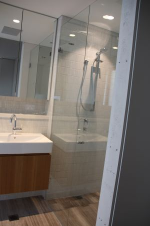 Customer Frameless Wall to Wall 2 Panel Showerscreen - Coogee