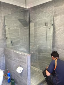 Custom Front and Half Return On Hob Frameless Showerscreen  - Concord