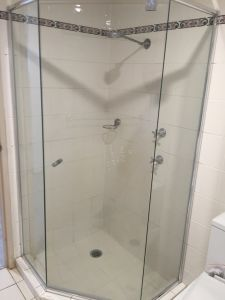 Custom 6mm 3 Sided Splayed Semi Frameless Showerscreen - Rhodes